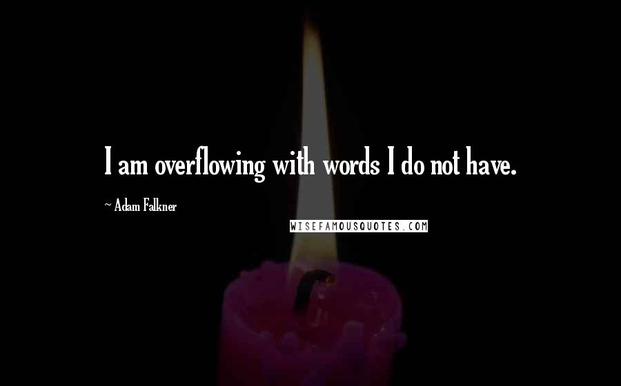 Adam Falkner quotes: I am overflowing with words I do not have.