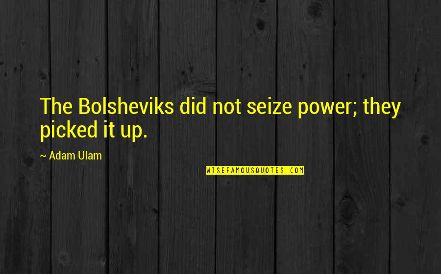Adam Ulam Quotes By Adam Ulam: The Bolsheviks did not seize power; they picked