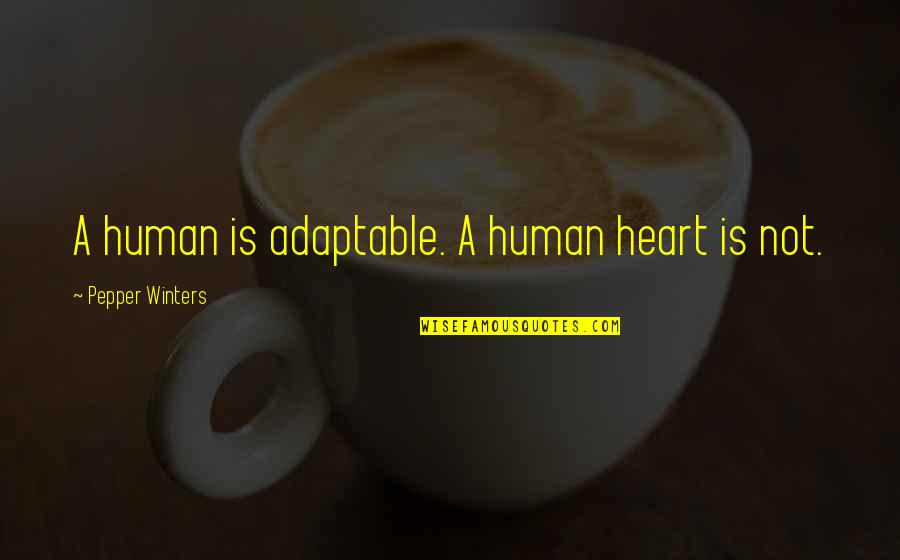 Adaptable Quotes By Pepper Winters: A human is adaptable. A human heart is