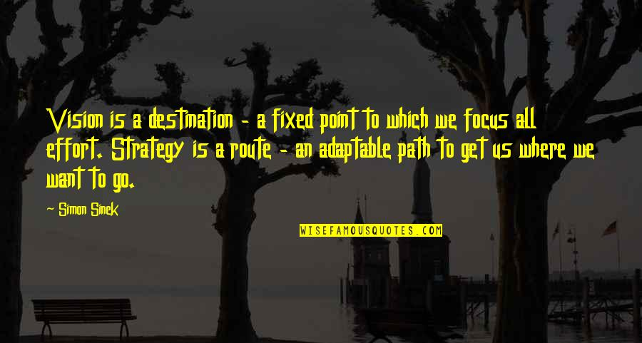 Adaptable Quotes By Simon Sinek: Vision is a destination - a fixed point