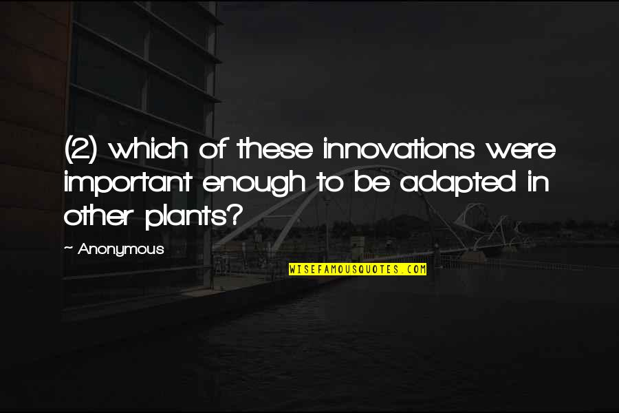 Adapted Quotes By Anonymous: (2) which of these innovations were important enough