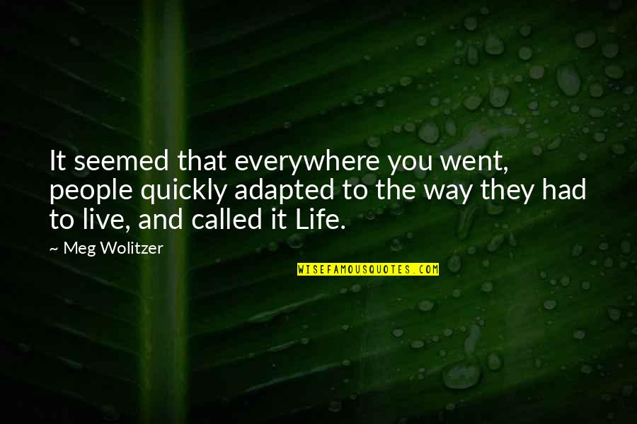 Adapted Quotes By Meg Wolitzer: It seemed that everywhere you went, people quickly