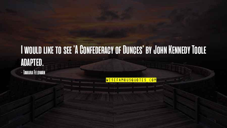 Adapted Quotes By Tamara Feldman: I would like to see 'A Confederacy of