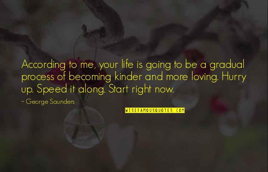 Adele Basheer Love Quotes By George Saunders: According to me, your life is going to