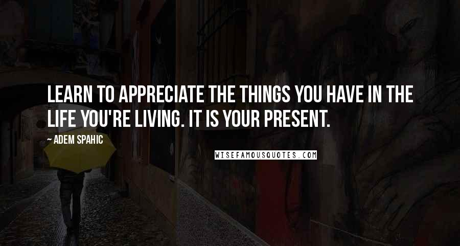 Adem Spahic quotes: Learn to appreciate the things you have in the life you're living. It is your present.