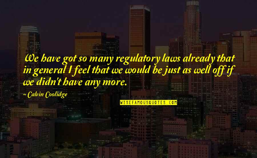 Admiral Togo Quotes By Calvin Coolidge: We have got so many regulatory laws already