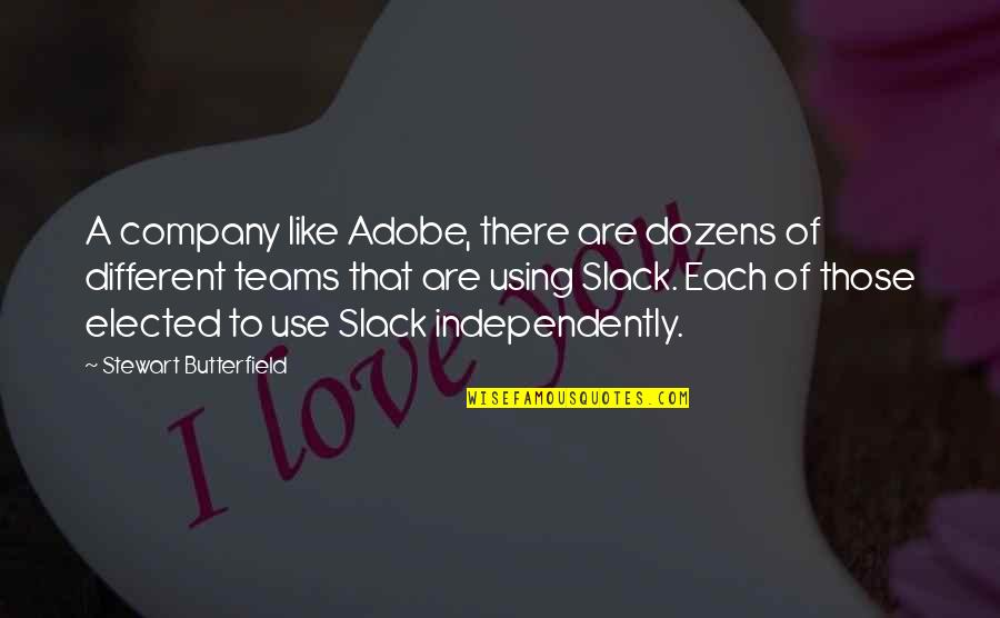 Adobe Quotes By Stewart Butterfield: A company like Adobe, there are dozens of