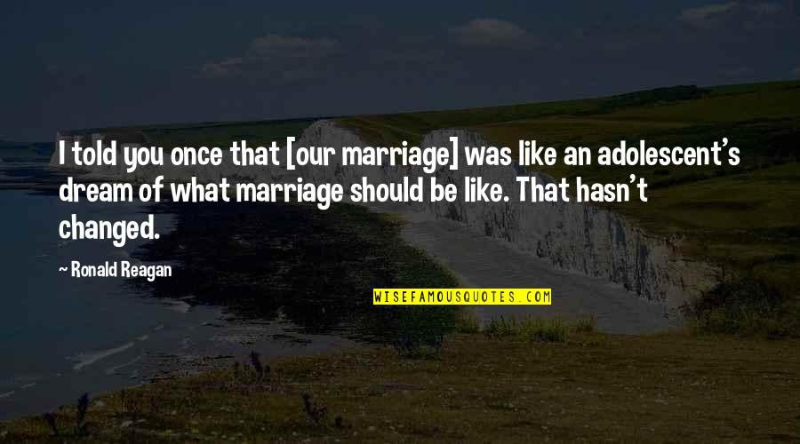 Adolescent Love Quotes By Ronald Reagan: I told you once that [our marriage] was