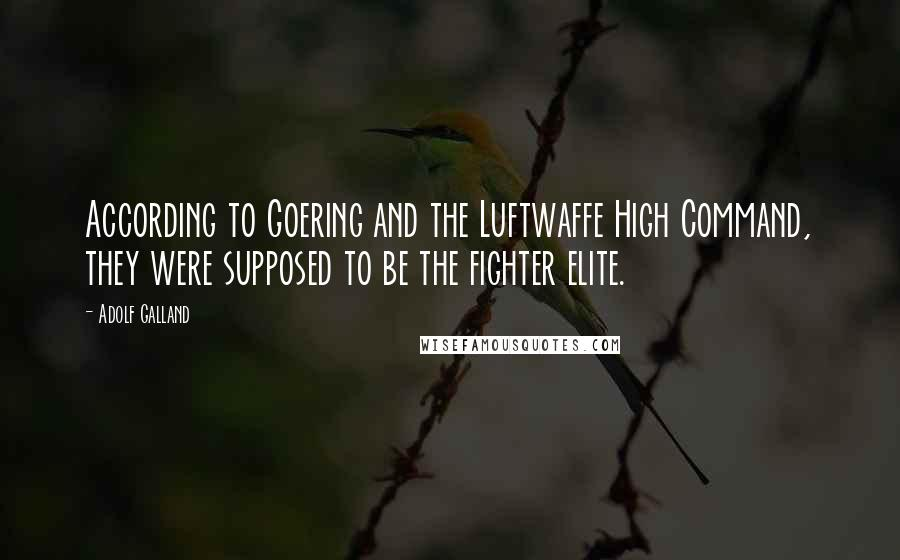 Adolf Galland quotes: According to Goering and the Luftwaffe High Command, they were supposed to be the fighter elite.