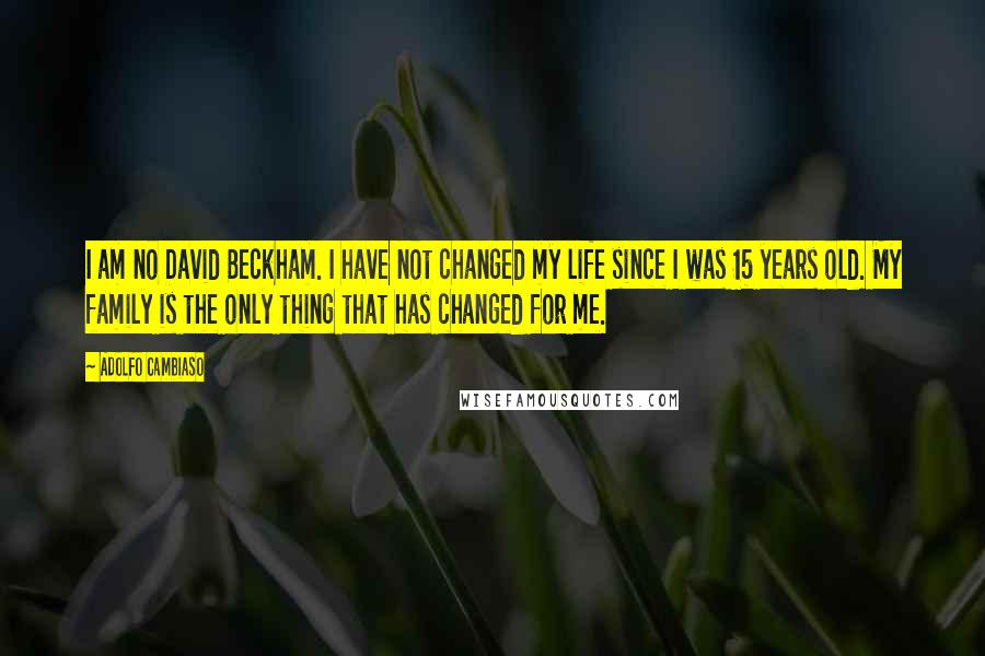 Adolfo Cambiaso quotes: I am no David Beckham. I have not changed my life since I was 15 years old. My family is the only thing that has changed for me.