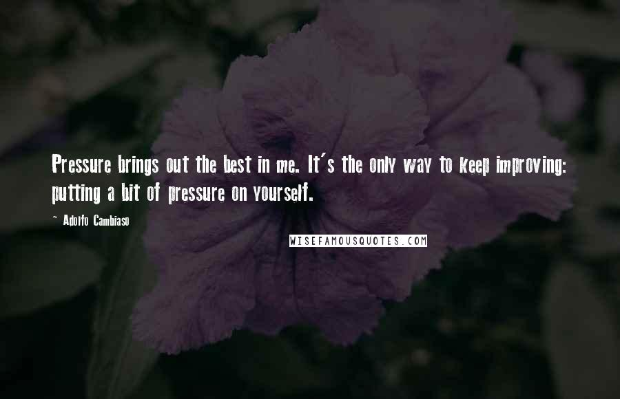 Adolfo Cambiaso quotes: Pressure brings out the best in me. It's the only way to keep improving: putting a bit of pressure on yourself.