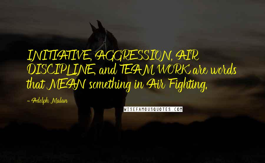 Adolph Malan quotes: INITIATIVE, AGGRESSION, AIR DISCIPLINE, and TEAM WORK are words that MEAN something in Air Fighting.