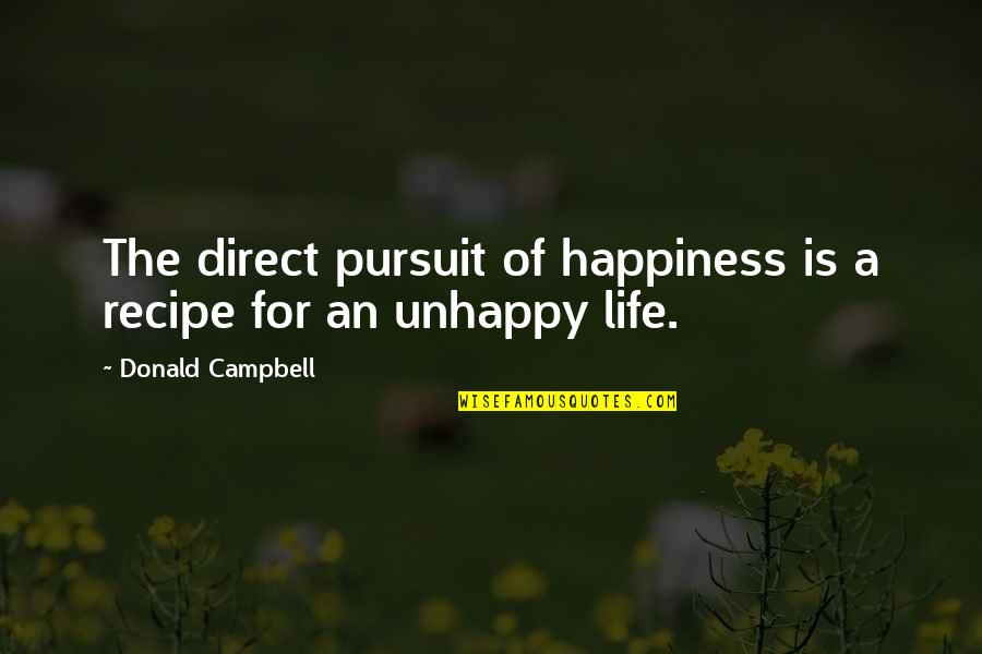 Adore You Miley Quotes By Donald Campbell: The direct pursuit of happiness is a recipe