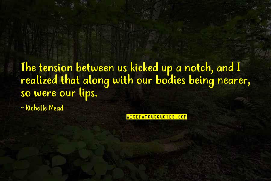 Adrian And Sydney Quotes By Richelle Mead: The tension between us kicked up a notch,