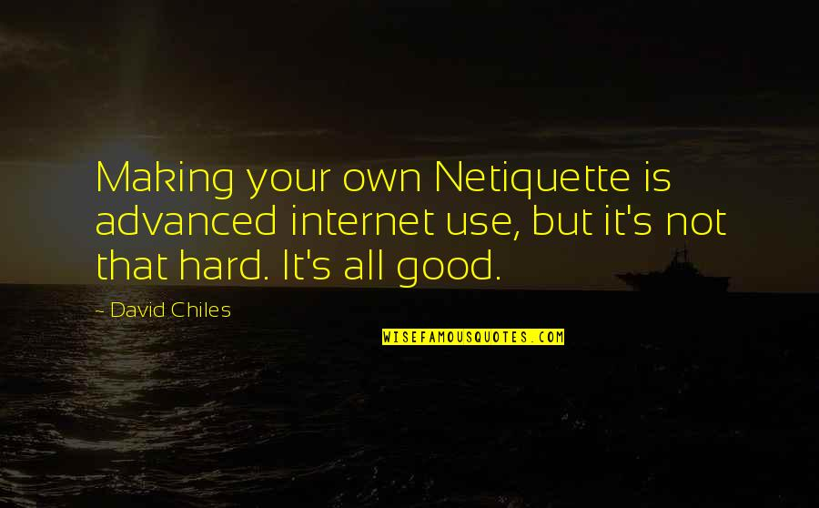 Advanced Quotes By David Chiles: Making your own Netiquette is advanced internet use,
