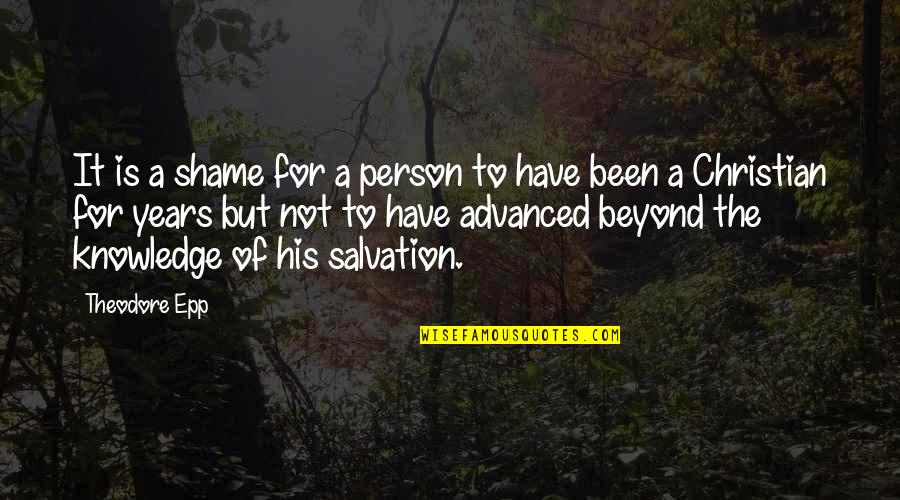 Advanced Quotes By Theodore Epp: It is a shame for a person to