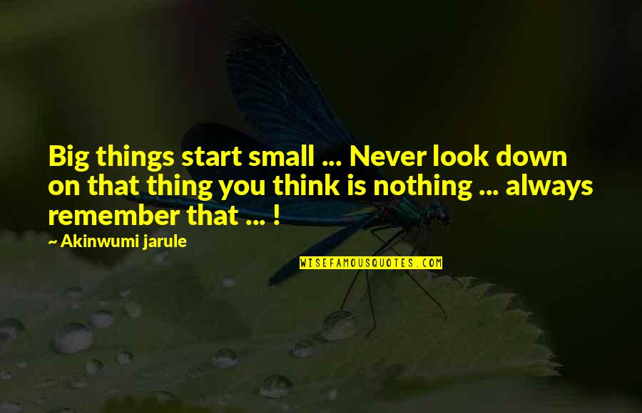 Advice For Daily Living Quotes By Akinwumi Jarule: Big things start small ... Never look down