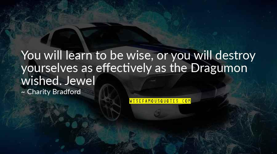 Advice For Daily Living Quotes By Charity Bradford: You will learn to be wise, or you