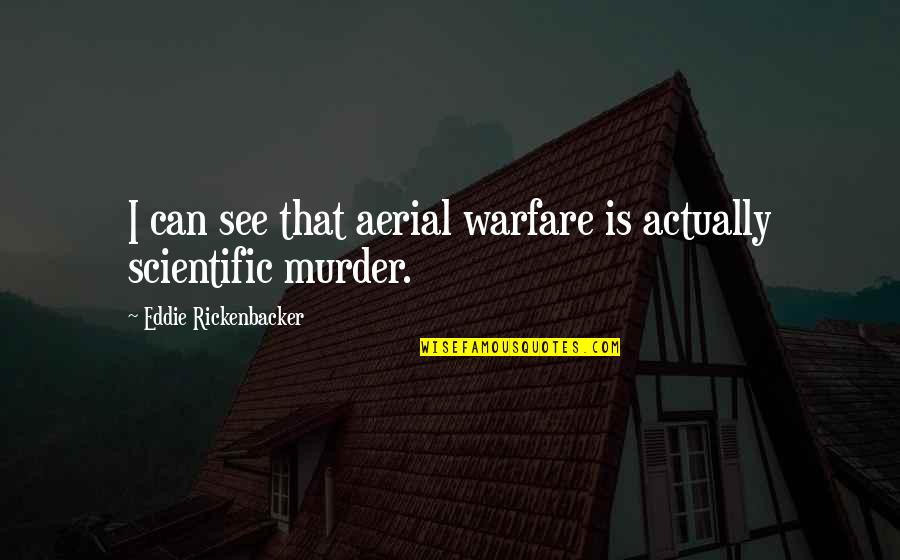 Aerial Warfare Quotes By Eddie Rickenbacker: I can see that aerial warfare is actually