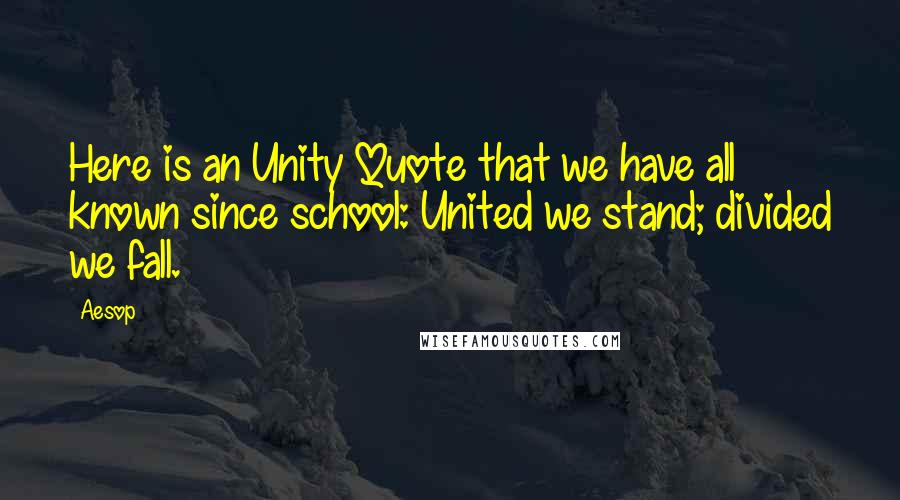 Aesop quotes: Here is an Unity Quote that we have all known since school: United we stand; divided we fall.