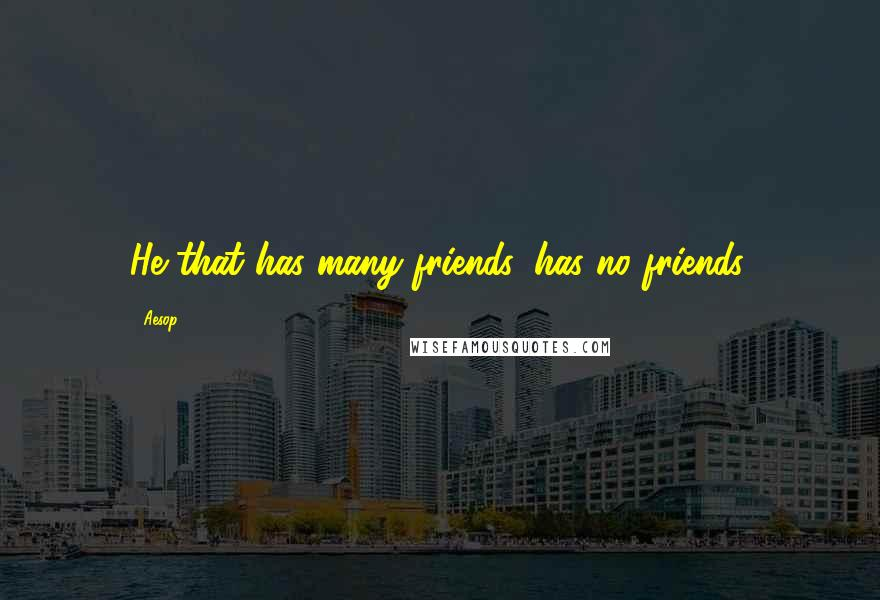 Aesop quotes: He that has many friends, has no friends.