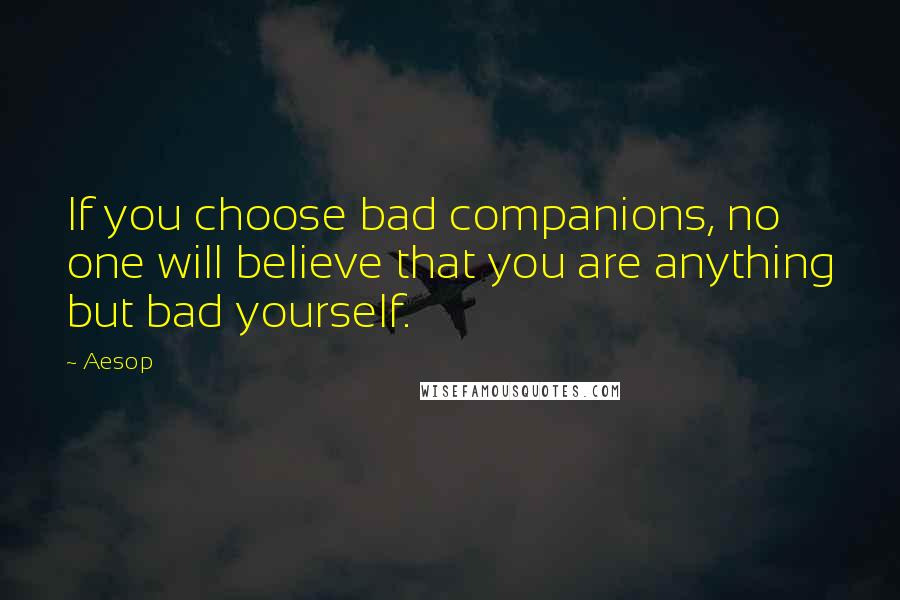 Aesop quotes: If you choose bad companions, no one will believe that you are anything but bad yourself.