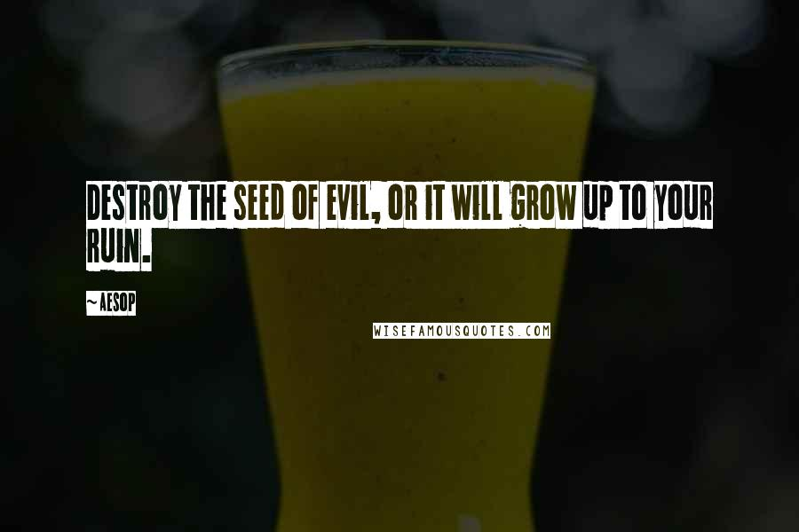 Aesop quotes: Destroy the seed of evil, or it will grow up to your ruin.