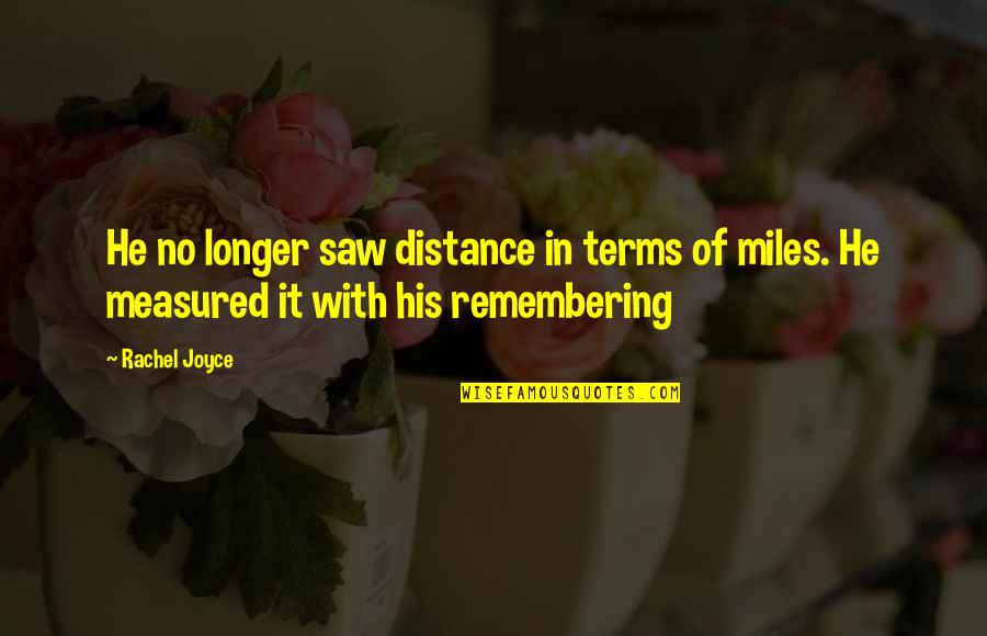 Affairs In The Great Gatsby Quotes By Rachel Joyce: He no longer saw distance in terms of