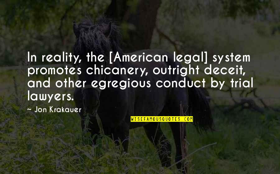 Afford Love Quotes By Jon Krakauer: In reality, the [American legal] system promotes chicanery,