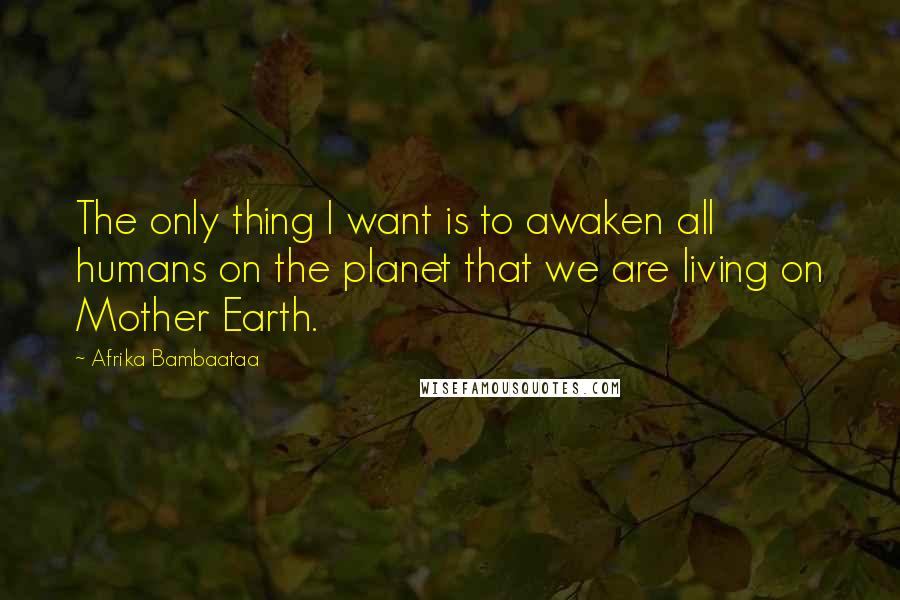 Afrika Bambaataa quotes: The only thing I want is to awaken all humans on the planet that we are living on Mother Earth.