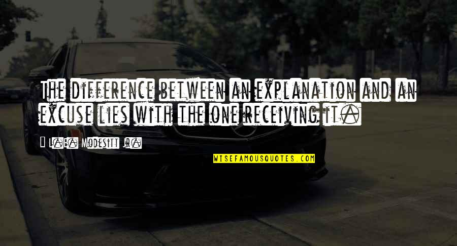 Again The Magic Lisa Kleypas Quotes By L.E. Modesitt Jr.: The difference between an explanation and an excuse