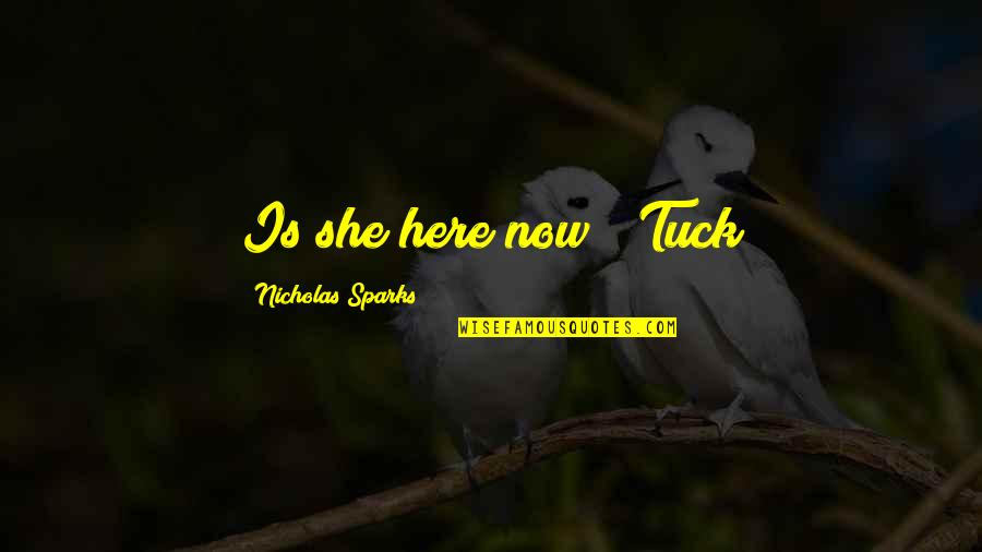 """Agbani Darego Quotes By Nicholas Sparks: Is she here now?"""" Tuck"""