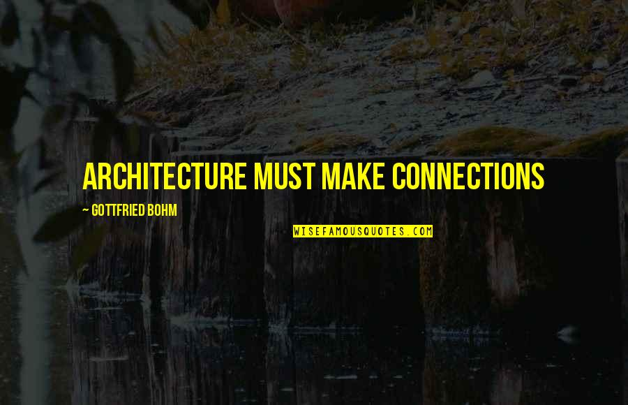 Age Of Empires Funny Quotes By Gottfried Bohm: Architecture must make connections