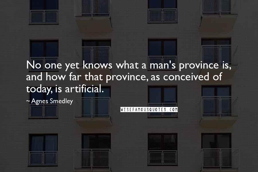 Agnes Smedley quotes: No one yet knows what a man's province is, and how far that province, as conceived of today, is artificial.
