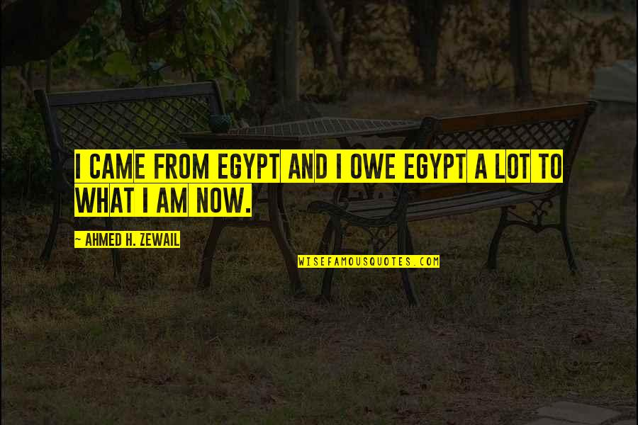 Ahmed Zewail Quotes By Ahmed H. Zewail: I came from Egypt and I owe Egypt