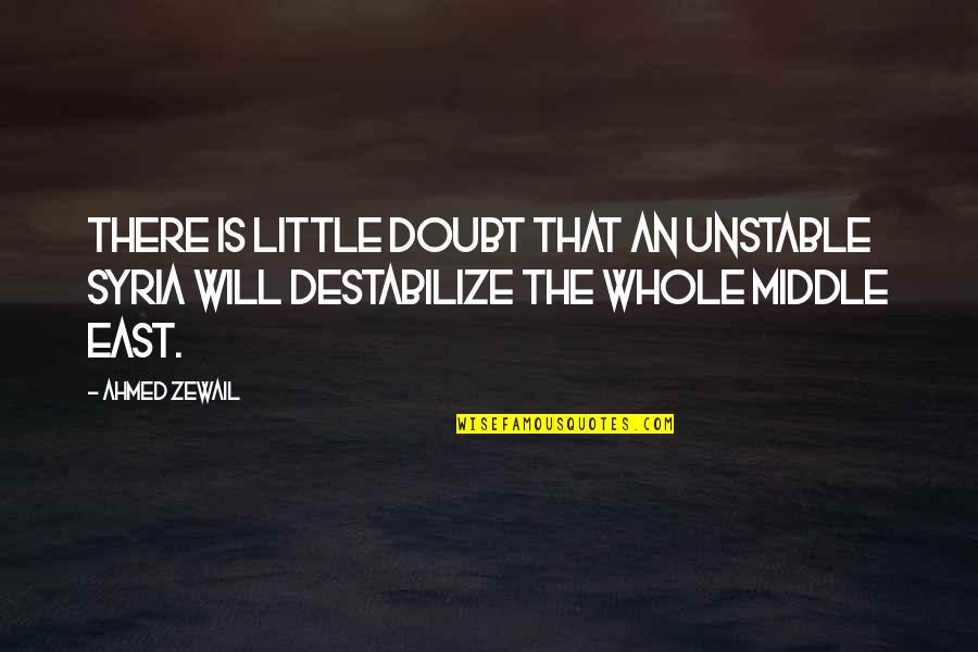 Ahmed Zewail Quotes By Ahmed Zewail: There is little doubt that an unstable Syria