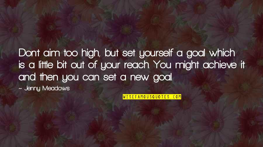 Aim For Your Goal Quotes By Jenny Meadows: Don't aim too high, but set yourself a