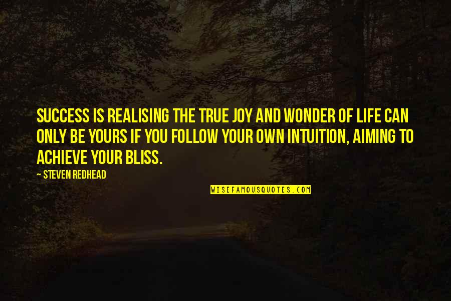 Aiming Success Quotes By Steven Redhead: Success is realising the true joy and wonder
