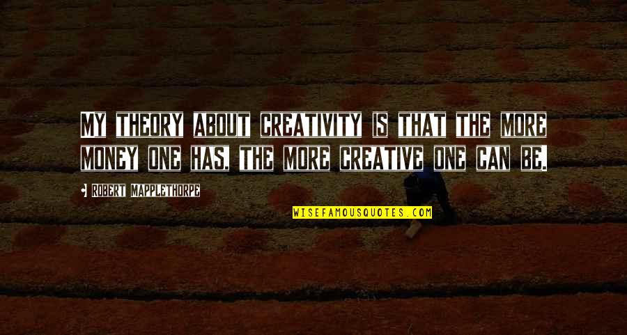 Aiming Too High Quotes By Robert Mapplethorpe: My theory about creativity is that the more