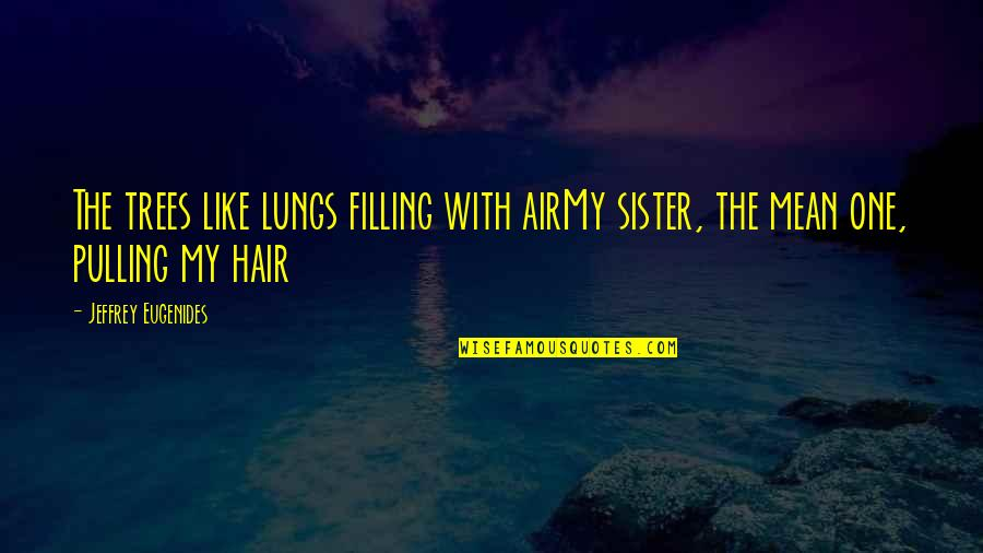 Air And Hair Quotes By Jeffrey Eugenides: The trees like lungs filling with airMy sister,