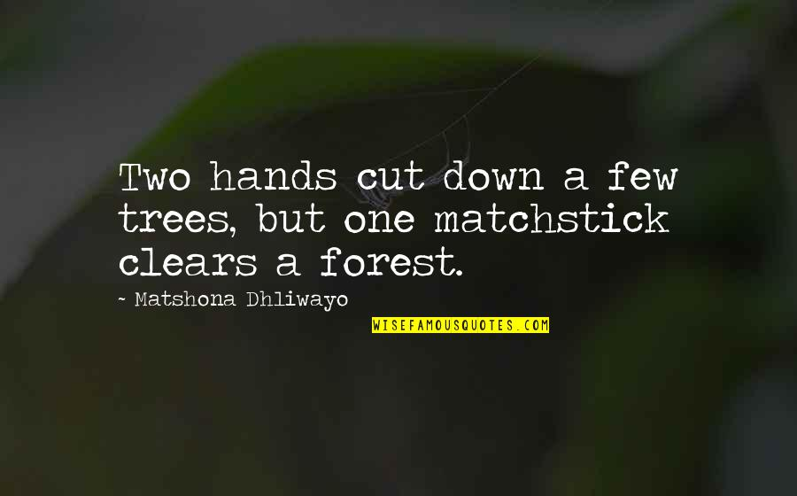 Akatsuki Sad Quotes By Matshona Dhliwayo: Two hands cut down a few trees, but