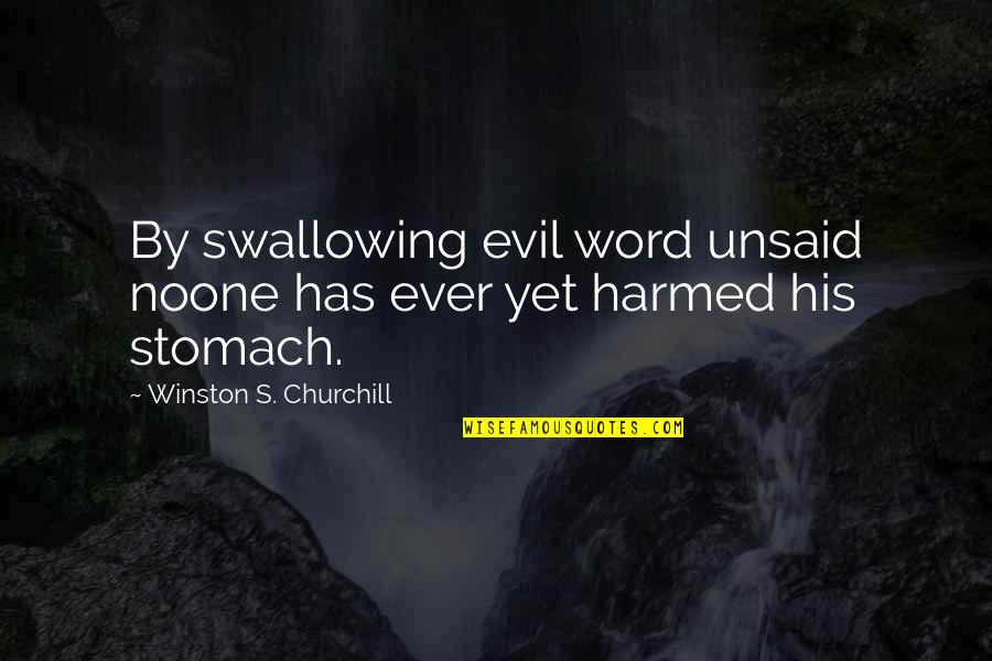 Akito Hayama Quotes By Winston S. Churchill: By swallowing evil word unsaid noone has ever