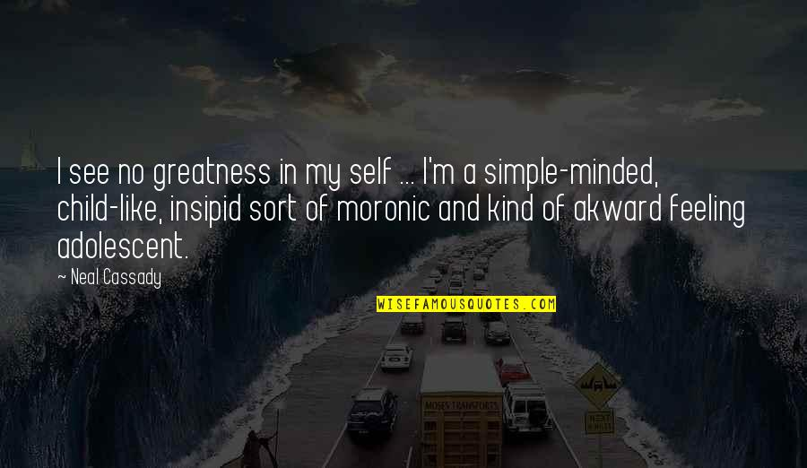 Akward Quotes By Neal Cassady: I see no greatness in my self ...