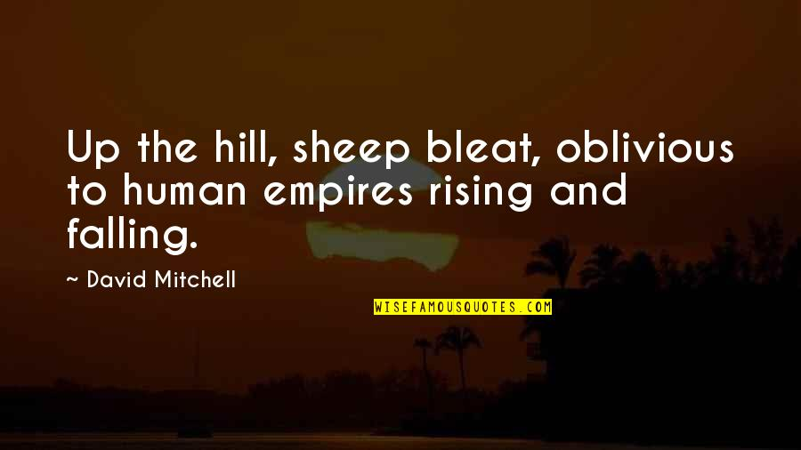 Alabama Auburn Rivalry Quotes By David Mitchell: Up the hill, sheep bleat, oblivious to human