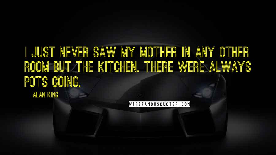 Alan King quotes: I just never saw my mother in any other room but the kitchen. There were always pots going.