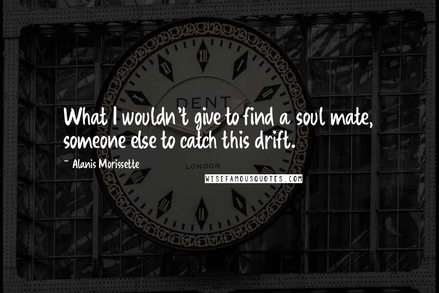 Alanis Morissette quotes: What I wouldn't give to find a soul mate, someone else to catch this drift.