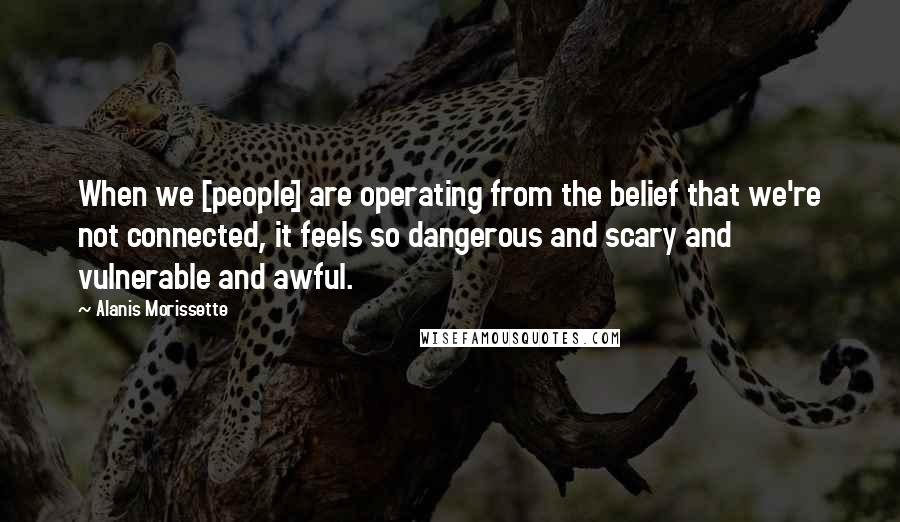 Alanis Morissette quotes: When we [people] are operating from the belief that we're not connected, it feels so dangerous and scary and vulnerable and awful.