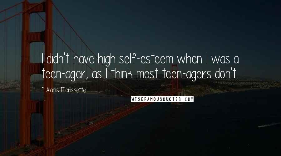 Alanis Morissette quotes: I didn't have high self-esteem when I was a teen-ager, as I think most teen-agers don't.