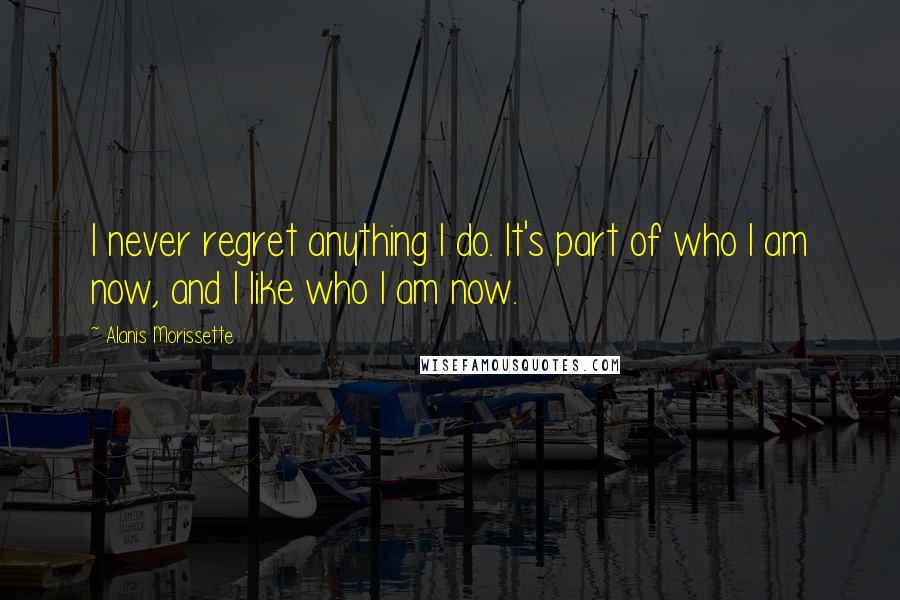 Alanis Morissette quotes: I never regret anything I do. It's part of who I am now, and I like who I am now.