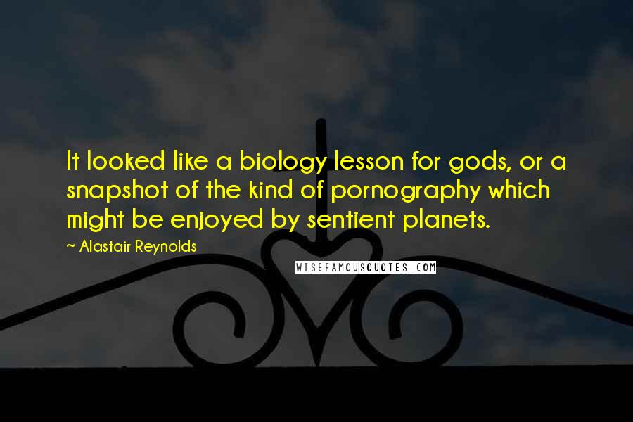 Alastair Reynolds quotes: It looked like a biology lesson for gods, or a snapshot of the kind of pornography which might be enjoyed by sentient planets.